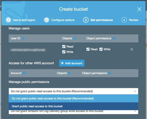 Create bucket in S3